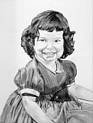 Curls Drawings Posters - Little Cathy Poster by Cathy Jourdan