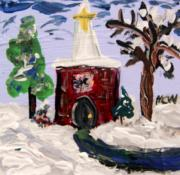 Expressionist Drawings - Little Chapel in the Snow by Mary Carol Williams