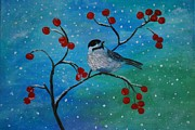 Snowy Trees Paintings - Little Chickadee by Leslie Allen