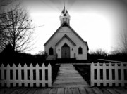 Wooden Building Digital Art Prints - Little Church B and W Print by Julie Hamilton