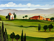 Toscana Paintings - Little Church by Roberto Gagliardi