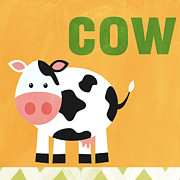 Animal Mixed Media Posters - Little Cow Poster by Linda Woods