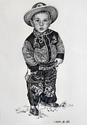 Cowboy Pencil Drawing Posters - Little Cowboy Poster by Carmen Del Valle