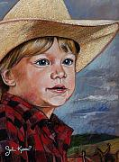 John Keaton Pastels Framed Prints - Little Cowboy Framed Print by John Keaton