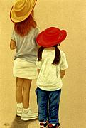 Hats Pastels - Little Cowgirls by Jan Amiss