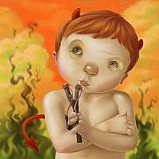 Boy Digital Art Prints - Little Devil Print by Simon Sturge