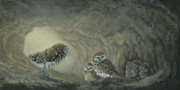 Burrowing Painting Framed Prints - Little Diggers - Burrowing Owls Framed Print by Patricia Mansell
