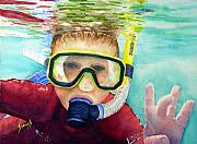 Scuba Paintings - Little Diver by Sam Sidders