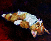Corgi Dog Portrait Posters - Little Dreamer Poster by Lyn Cook