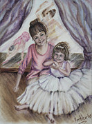 Ballet Dancers Prints - Little Dreamers Print by Pauline  Kretler