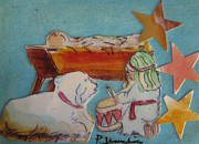Manger Mixed Media Posters - Little Drummer Boy Poster by Patricia Januszkiewicz