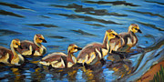 Ducks Paintings - LIttle Ducklings by Robin Mann