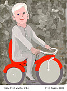 Cotton Mixed Media Prints - Little Fred and his trike. Print by Fred Jinkins