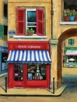 Red Cafe Posters - Little French Book Store Poster by Marilyn Dunlap