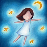 Drawn Prints - Little Girl Flying With Stars Print by Anna Abramska