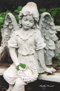 Angels Art Posters - Little Girl Garden Angel Holding Wreath  Poster by Kathy Fornal