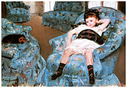 Fine American Art Posters - Little Girl in a Blue Armchair Poster by Mary Cassatt