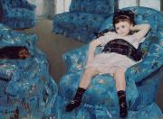 Puppy Metal Prints - Little Girl in a Blue Armchair Metal Print by Mary Stevenson Cassatt