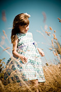 Young Girl Photo Posters - Little Girl in a Field Poster by Matt Dobson