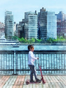 Hudson River Prints - Little Girl on Scooter by Manhattan Skyline Print by Susan Savad