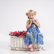 Little Sister Photos - Little girl talking over mobile phone by Tania Gaidai