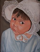 Little Girl Portrait With White Hat Prints - Little Girl with Lace Hat Print by Jane Honn