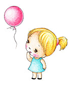 Doll Drawings - Little Girl With Pink Balloon by Anna Abramska