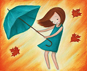 Autumn Holiday Mixed Media Posters - Little Girl With Turquoise Umbrella Poster by Anna Abramska