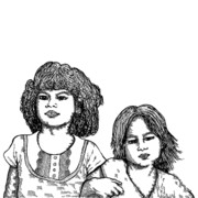 Youthful Drawings Prints - Little Girls Print by Karl Addison