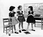 Slates Prints - Little Girls School Dressed In 1953 Print by Everett