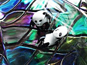 Distortion Prints - Little Glass Pandas 12 Print by Sarah Loft