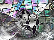 Distortion Prints - Little Glass Pandas 20 Print by Sarah Loft