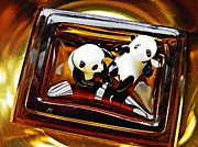 Distortion Framed Prints - Little Glass Pandas 43 Framed Print by Sarah Loft