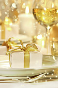Banquet Posters - Little gold ribboned gift Poster by Sandra Cunningham