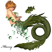 Mermaids Digital Art - Little Green Fish by Ralph  Rey