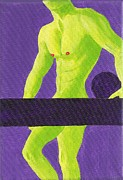 Physique Paintings - Little Green Man on Purple by Randall Weidner