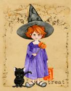 Dress Up Painting Posters - Little Halloween Witch Poster by Cindy Garber Iverson