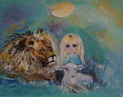 Lion Lamb Posters - Little Harmonie Poster by Leslie Allen