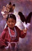 Costume Pastels Metal Prints - Little Hopi Dancer Metal Print by Ann Peck