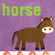 Orange Art Posters - Little Horse Poster by Linda Woods