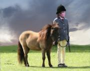 Boy Digital Art Originals - Little Horseman by Roberta Martin