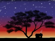 Tree. Acacia Posters - Little House At Sunset Poster by Methune Hively