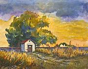 Dolores Paintings - Little House by the Tracks by Dolores Mitchell