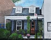 Montreal Paintings - Little House in The City by Reb Frost