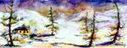 Fir Trees Painting Prints - Little House In The Mountains Print by Ginette Fine Art LLC Ginette Callaway
