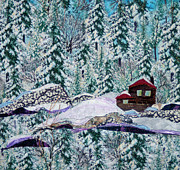 Winter Trees Tapestries - Textiles - Little House In the Woods by Maureen Wartski