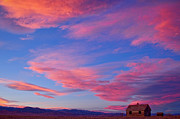 Purple Mountains Prints Posters - Little House On Prairie with Big Colorful Colorado Sunset Sky Poster by James Bo Insogna