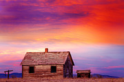 Little House Framed Prints - Little House On The Prairie Colorful Colorado Country Sunset Framed Print by James Bo Insogna