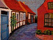 Blu Pastels Posters - Little Houses on Bornholm Island Poster by Art Nomad Sandra  Hansen