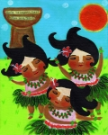 Banana Art Posters - Little Island Girls Dance Poster by Jennifer R S Andrade